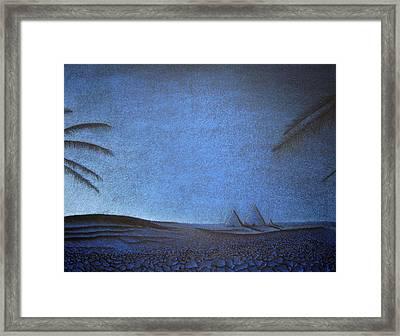 Framed Print featuring the drawing Blue Pyramid by Mayhem Mediums