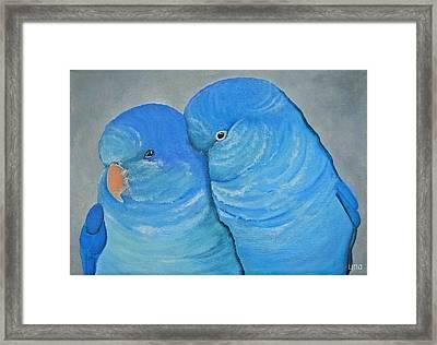 Blue Quaker Cuddles Framed Print