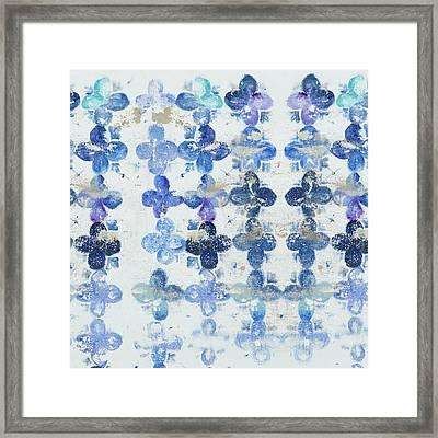 Blue Quatrefoil Iv Framed Print by Patricia Pinto