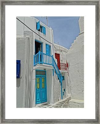 Blue Railing With Stairway In Mykonos Greece Framed Print by M Bleichner