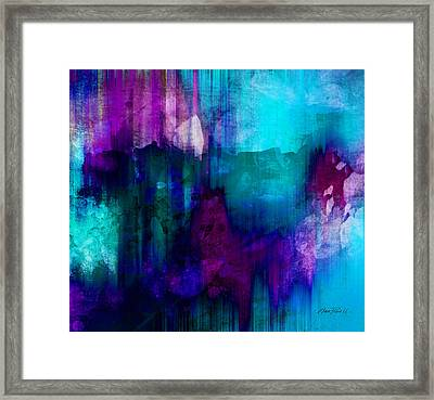 Blue Rain  Abstract Art   Framed Print by Ann Powell