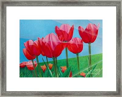 Framed Print featuring the painting Blue Ray Tulips by Pamela Clements