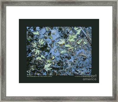 Blue Reflections With Pale Green Leaves Framed Print