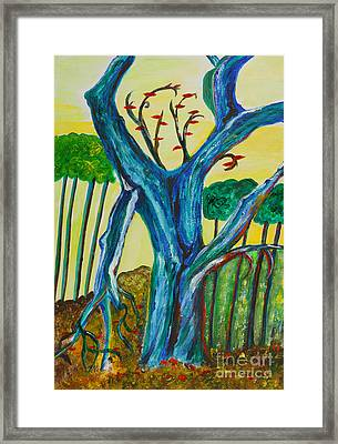 Blue Remembered Tree Framed Print by Veronica Rickard