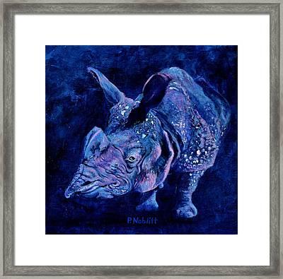Indian Rhino - Blue Framed Print by Paula Noblitt