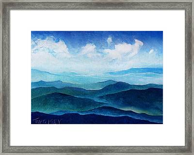Blue Ridge Blue Skyline Sheep Cloud Framed Print