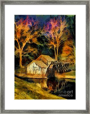 Blue Ridge - Mabry Mill Painted At Night II Framed Print by Dan Carmichael