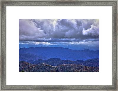 Under The Cloud Cover Blue Ridge Mountains North Carolina Framed Print by Reid Callaway