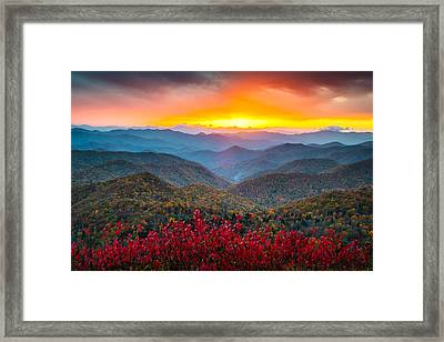 Blue Ridge Parkway Autumn Sunset Nc - Rapture Framed Print by Dave Allen