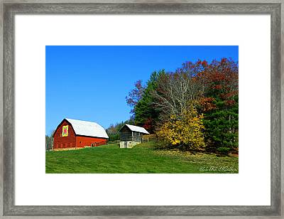 Blue Ridge Parkway Barn With Fall Trees Framed Print