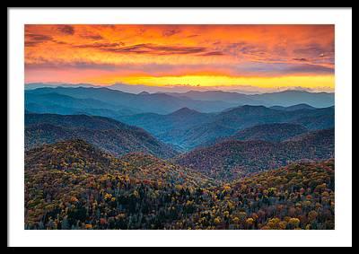 Mountain Sunset Framed Prints