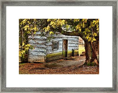 Blue Ridge Parkway - Mabry Mill Building In The Rain Framed Print by Dan Carmichael