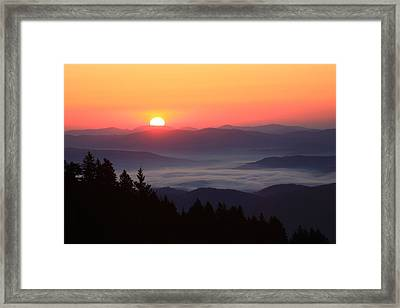 Blue Ridge Parkway Sea Of Clouds Framed Print by Mountains to the Sea Photo