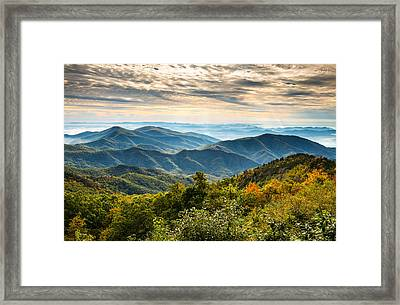 Blue Ridge Parkway Sunrise - Light Lines And Leaves Framed Print
