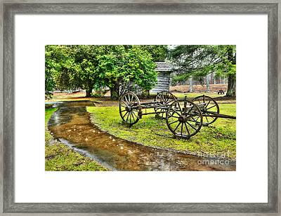 Blue Ridge Parkway Vintage Wagon In The Rain I Framed Print