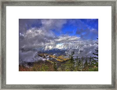 Up Among The Clouds Blue Ridge Parkway Waterrock Knob Framed Print by Reid Callaway