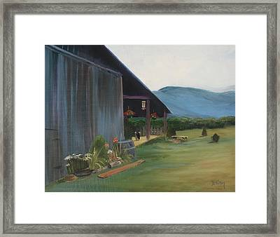 Blue Ridge Vineyard Framed Print by Donna Tuten