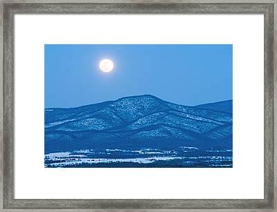 Blue Ridge Winter Moon Framed Print by Lara Ellis