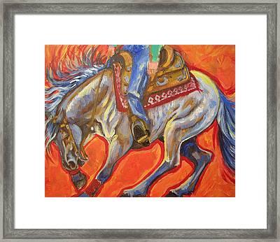 Blue Roan Reining Horse Spin Framed Print by Jenn Cunningham