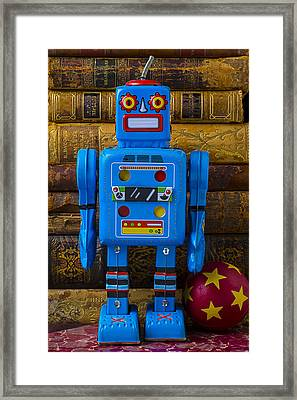 Blue Robot And Books Framed Print by Garry Gay