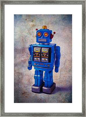 Blue Robot Toy Framed Print by Garry Gay