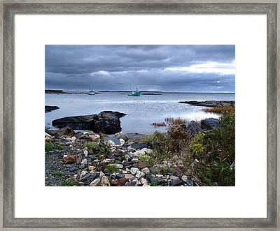 Blue Rocks Late October Day Framed Print by Janet Ashworth