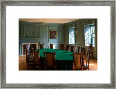 Framed Print featuring the photograph Blue Room 2 Wren Building by Jerry Gammon