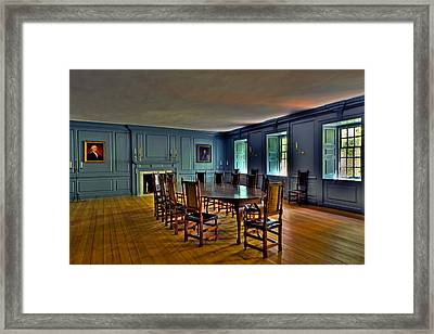 Framed Print featuring the photograph Blue Room Wren Building by Jerry Gammon