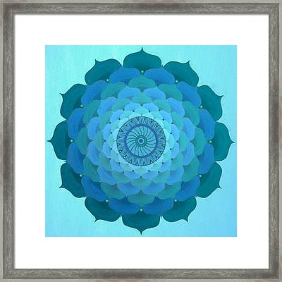 Blue Rose Mandala Framed Print by Vlatka Kelc