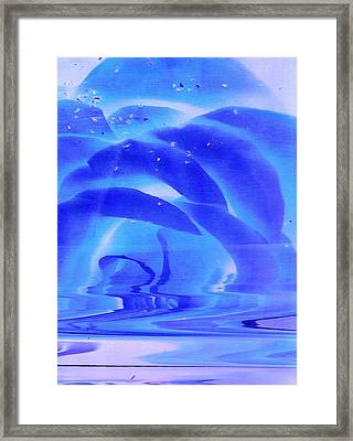 Blue Rose Melting Framed Print by Anne-Elizabeth Whiteway