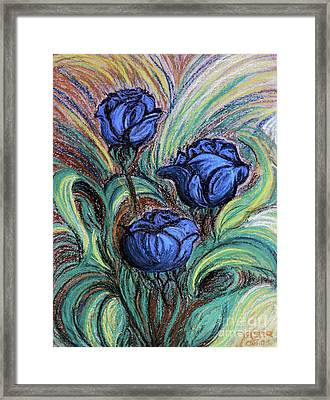 Framed Print featuring the painting Blue Roses by Jasna Dragun
