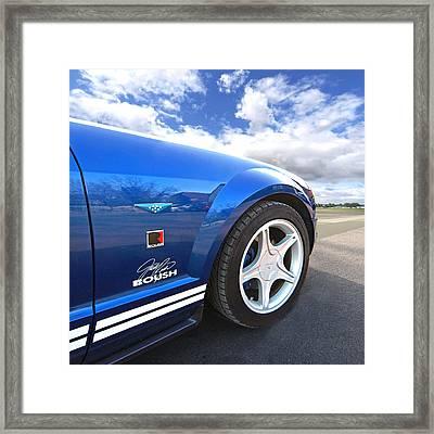 Blue Roush Mustang Framed Print by Gill Billington