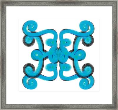 Framed Print featuring the digital art Blue Scroll Square by Christine Fournier