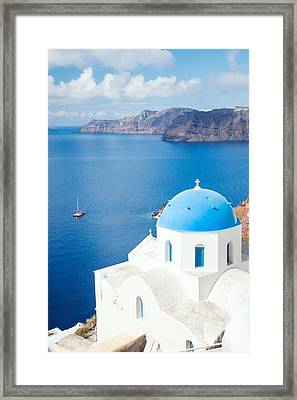 Blue Sea - Santorini - Greece Framed Print by Matteo Colombo