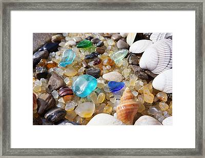 Blue Seaglass Art Prints Shells Agates Rocks Framed Print