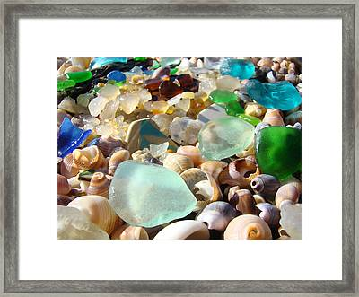Blue Seaglass Beach Art Prints Shells Agates Framed Print