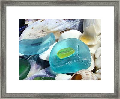 Blue Seaglass Green Art Prints Beach Shells Framed Print by Baslee Troutman