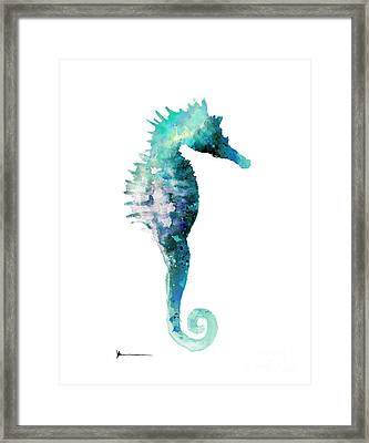 Blue Seahorse Watercolor Art Print Painting Framed Print