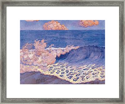 Blue Seascape Wave Effect Framed Print by Georges Lacombe