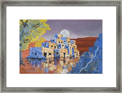 Blue Serpent Pueblo Framed Print by Jerry McElroy