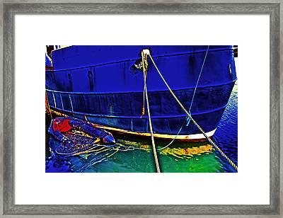Blue Ship Framed Print