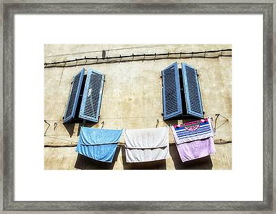 Blue Shutters And Laundry  Framed Print