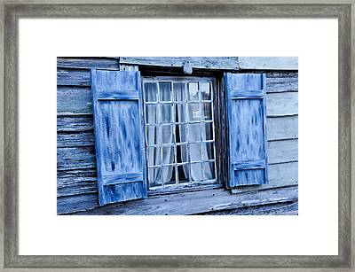 Blue Shutters Framed Print by Bonnie Fink