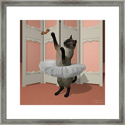 Blue Siamese Ballet Cat On Paw-te Framed Print by Andre Price