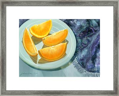 Blue Silk And Oranges Framed Print by Joan A Hamilton