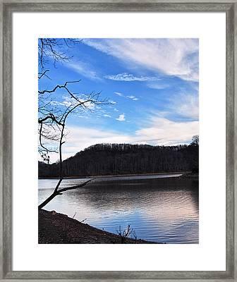 Blue Skies Over Beech Fork Lake Framed Print by Chris Flees