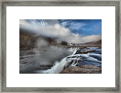 Blue Skies Over Sandstone Falls Framed Print by Adam Jewell