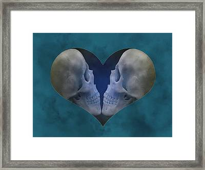 Blue Skull Love Framed Print by Diana Shively