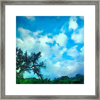 Blue Sky And Puffy Clouds - Square Framed Print