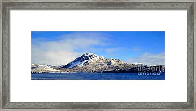 Blue Sky And Snow On The Hill Painterly Framed Print by Barbara Griffin